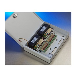 12V d.c. Switch Mode PSU 4Amp. 4 x fused outputs. Ideal for CCTV. 'T' Box: 300h x 240w x 60d - Lockable Hinge Lid