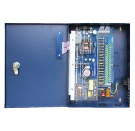 DS-DC121832, 18 Way CCTV power supply, Blue metal box, 96-264VAC, 12VDC output, 32A, 50-60Hz, PTC fuse- 2.25A/CH