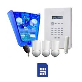 i-onCompact GSM kit containing 3x PIR, 1x door contact, 1x keyfob, 1x blue sounder base, 1x GSM communicator